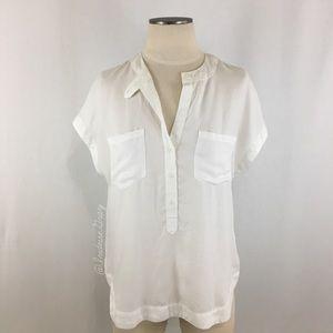 Anthropologie- Cloth & Stone White SS Henley SZ S